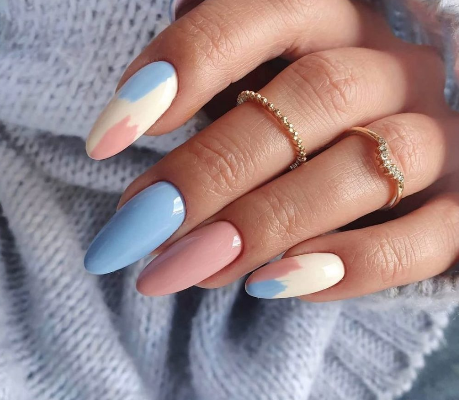 Nude And Baby Blue Nails