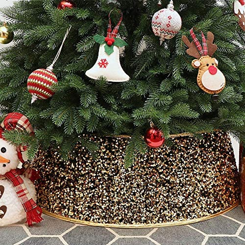 HAUMENLY Christmas Tree Collar - Shiny Gold Sequins