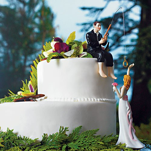 Hooked On Love Groom and Bride Reaching For Her Star Figurines
