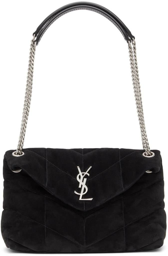 Loulou Puffer small black suede shoulder bag