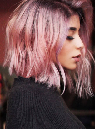 Pastel Pink Hair Color With Dark Roots