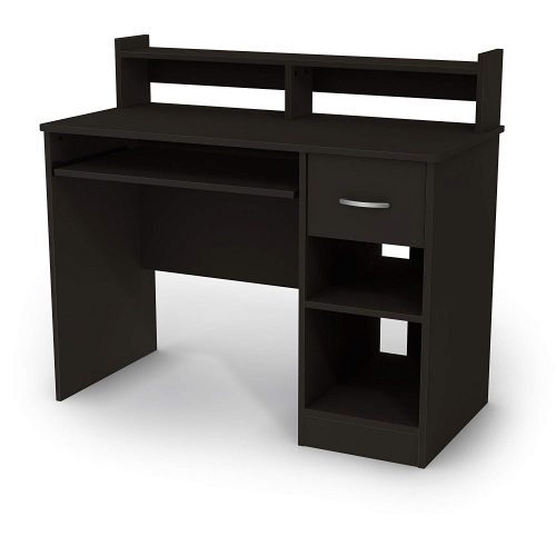 South Shore Axess Black Desk with Keyboard Tray Black Desk With Drawers